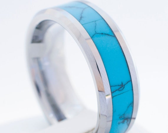 Turquoise Tungsten Carbide Ring Men Women Anniversary Wedding Band Gift 8mm Comfort Fit Size 5 to 15 Husband Wife Promise Engagement Ring