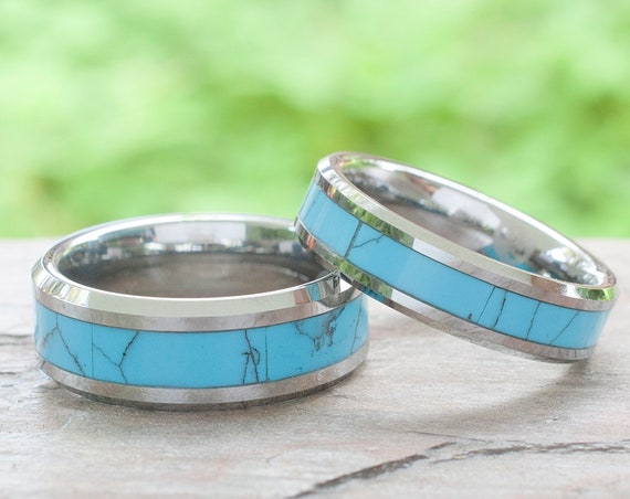 Tungsten Ring Turquoise Wedding Bands Men Women Anniversary Gift 8MM 6MM Size 4 to 15 Love His or Her Single Or Set Engagement Duo Love Ring