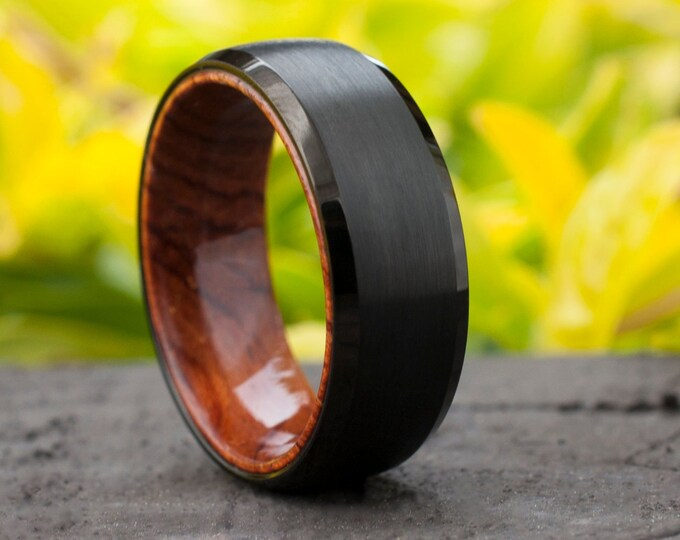 Wood Sleeve Tungsten Ring Black Wedding Band Brushed Rosewood Design Men 8MM Comfort Fit Sizes 6 to 15 Husband Anniversary Love Holiday Gift