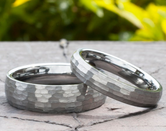 Hammered Tungsten Ring Silver Grey Color Men Women Set Or One Wedding Band Brush 6MM 4MM Size 4-14 Husband Wife Anniversary Engagement Gift