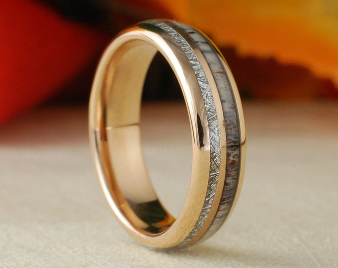 Rose Gold Tungsten Wedding Ring 6MM Deer Antler Meteorite Inlay Men Women Anniversary Band Size 5 to 14 His Her Engagement Promise Love Gift