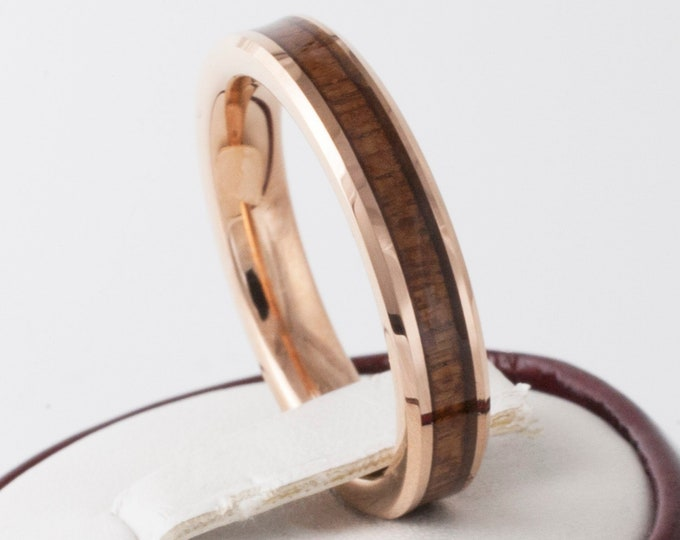 Rose Gold Tungsten Wood Ring Women Thin Wedding Band 4MM Size 4 to 14 Great Men Engagement Anniversary Gift His Her Elegant Koa Wood Inlay