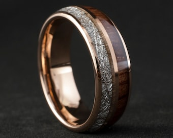 Rose Gold Wood Meteorite Tungsten Ring Male Wedding Band Polished 2-Inlay Domed Design 8MM Size 4 to 15 Mens Anniversary Fathers Day Gift
