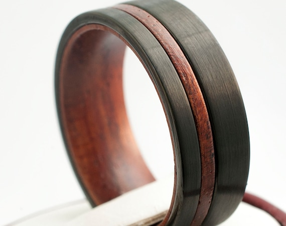 Black Tungsten Ring Wood Sleeve Wedding Band Brushed Men 8MM Comfort Fit Design Sizes 5 to 15 Perfect  Husband Anniversary Love Fiance Gift