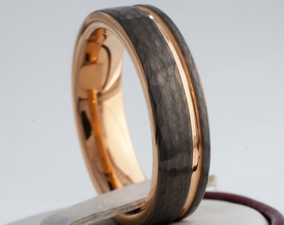 Gunmetal Tungsten Ring Rose Gold Wedding Band Hammered Light Black Color Women Men Comfort Fit 6MM Sizes 4 to 14 Anniversary Engagement Gift