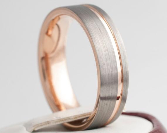 6MM Tungsten Ring Rose Gold Wedding Band Women Men Light Grey Brushed Design Sizes 4 to 14 Anniversary Engagement Gift Engraving Service