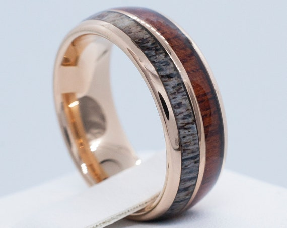 Male Wedding Band Rose Gold Deer Antler Wood Tungsten Ring Men High Polish Domed Design 8MM Size 5 to 15 His Her Anniversary Engagement Gift