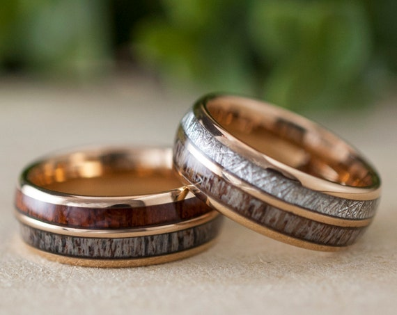 Wood Meteorite Deer Antler Wedding Bands Rose Gold Tungsten Ring Men Women Set Or Single Gift 8MM Size 5 to 15 His Her Anniversary Love Gift