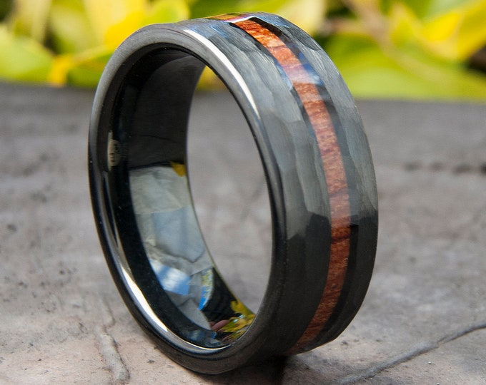 Black Hammered Tungsten Ring Wood Inlay Wedding Band Mens 8MM Comfort Fit Design Size 5 to 15 Male Unique Fashion Anniversary Love Gift