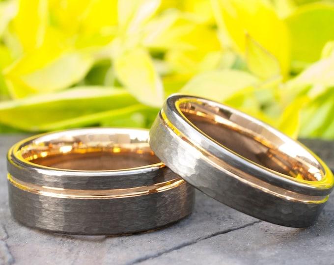 Rose Gold Tungsten Ring Hammered Gunmetal Set Or Single Wedding Band Light Black Brushed Design Men Women 8MM 6MM Size 5-14 Anniversary Gift
