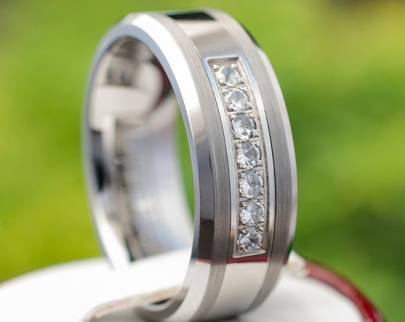 Tungsten Ring Wedding Band Mens Women 7 Stone Inlay Polished And Brushed Design Fashion 8MM Size 6 to 14 His or Her Good Luck Marriage Ring