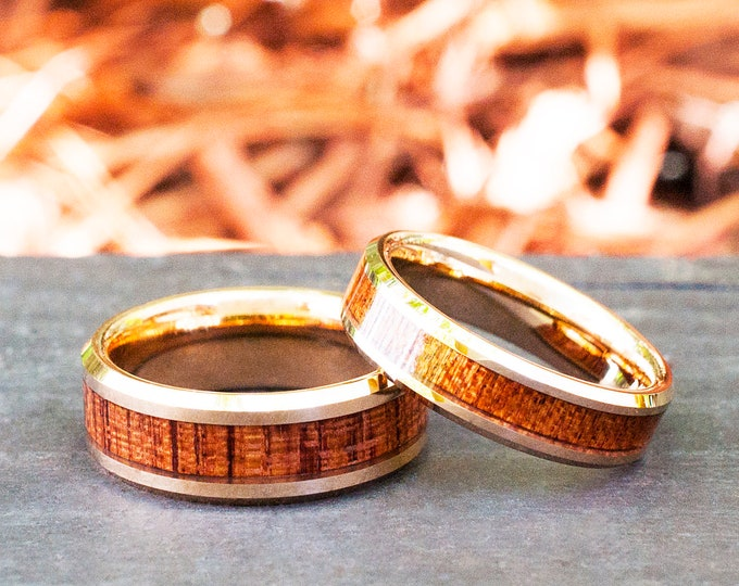 Wood Tungsten Ring Rose Gold Men Women Wedding Anniversary Band  Set Or Single Ring 8MM 6MM Size 4 to 15 His Or Her Special Occasion Gift