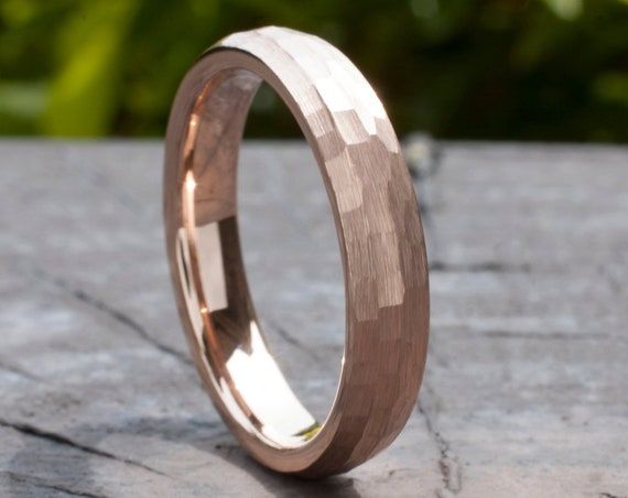 Hammered Rose Gold Tungsten Ring 4MM Woman Wedding Bridal Band Thin Classic Brushed Size 4 to 14 Her Anniversary Engagement Special Gift