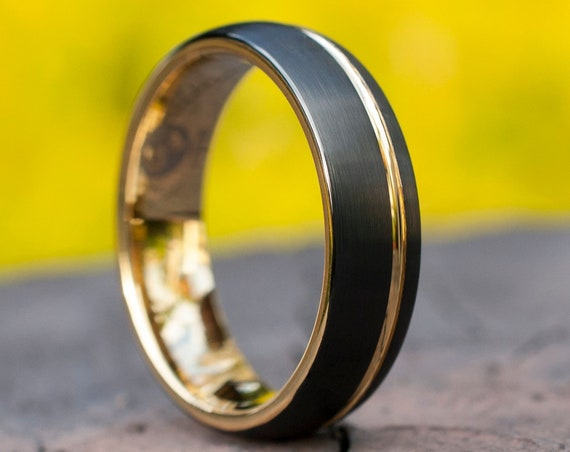 Gold Tungsten Ring Men Woman Black Wedding Band Matte Brush Design 6MM Size 4 to 14 Anniversary Special Occasion Gift Engraving Service Opt
