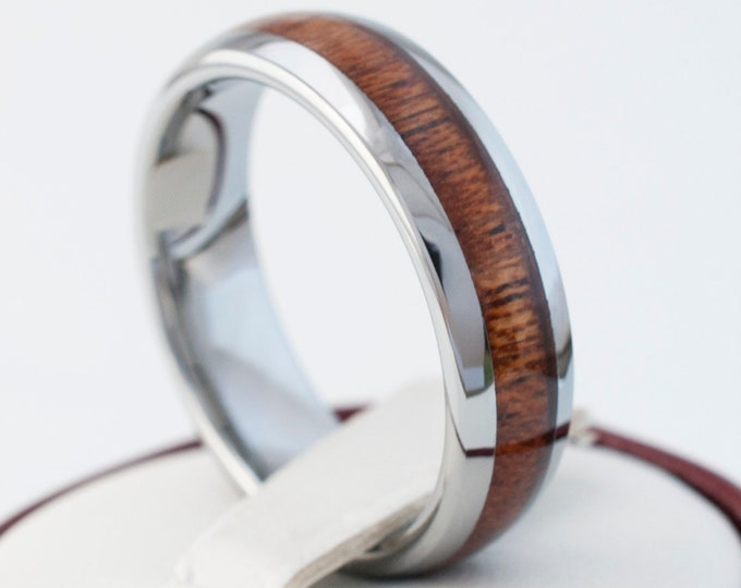 Wood Tungsten Ring 6MM Men Women Wedding Band Grey Polished Dome Design Size 5 to 14 Engraving Services Available Great Valentines Day Gift