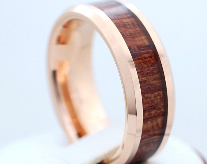 Rose Gold Tungsten Ring Wood Inlay Men Women Wedding Band Polished Elegant Beveled 8MM Size 5 to 15 His or Her Anniversary Engagement Gift