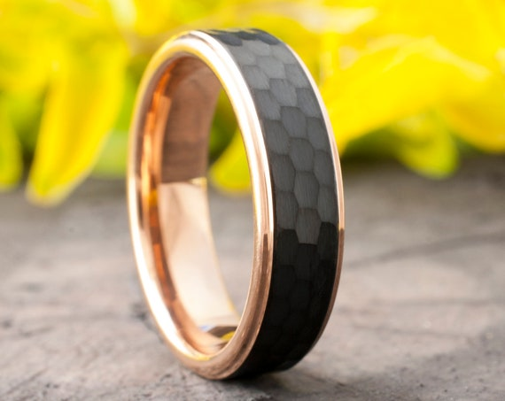 Rose Gold Tungsten Ring Black Hammered Wedding Band Women Men Two-Tone Comfort Fit 6MM Size 5 to 14 Anniversary Engagement Male Female Gift