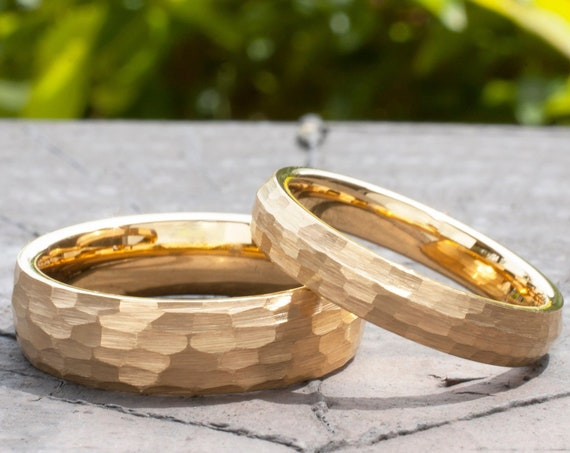 Hammered Gold Tungsten Ring Men Women Set or One Wedding Band Brush 6MM 4MM Size 4 - 14 Husband Wife Anniversary Engagement His Her Duo Gift