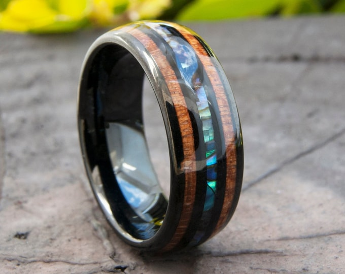 Black Tungsten Wood Ring Men Women Abalone Shell Wedding Band Pearl Wood 3-Layer 8MM Size 5 to 15 Anniversary His or Her Elegant Unique Gift