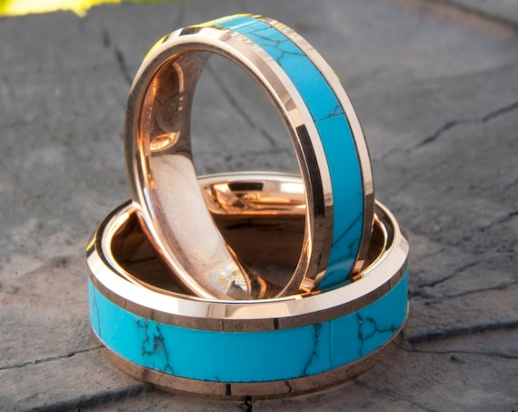 Turquoise Tungsten Ring Rose Gold Wedding Bands Men Women Anniversary Gift 8MM 6MM Size 4-15 His Her Duo Set or One Engagement Promise Ring