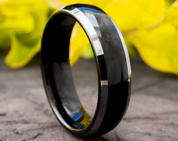 Black Tungsten Ring Male Wedding Band White Grey Shiny Edges High Polished Finished 6MM Size 5 to 14 Special Men Women Anniversary Gift