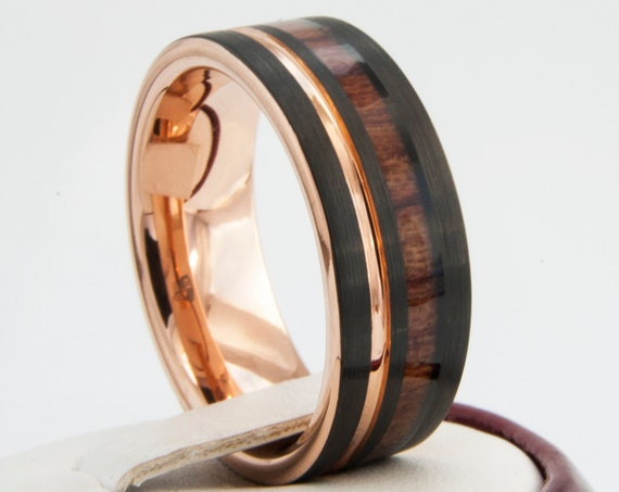 Black Tungsten Ring Rose Gold Wedding Band Wood Inlay Groove Men 8MM Comfort Fit Design Size 4 to 15 Perfect Husband Unique Anniversary Gift