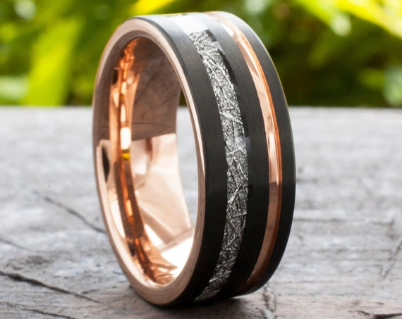 Rose Gold Tungsten Ring Black Wedding Band Meteorite Inlay Groove Men 8MM Comfort Fit Size 5 to 15 Husband Unique Anniversary Valentine Gift