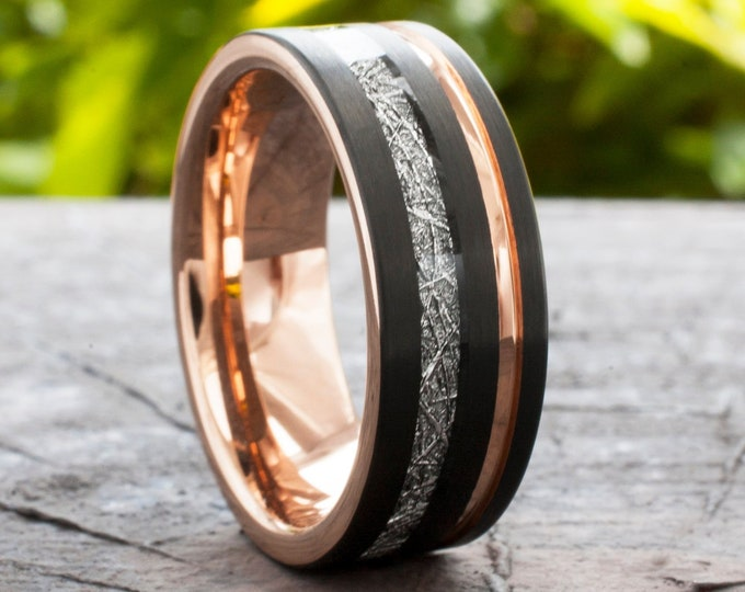 Rose Gold Tungsten Ring Black Wedding Band Meteorite Inlay Groove Men 8MM Comfort Fit Size 5 to 14 Husband Unique Anniversary Gift