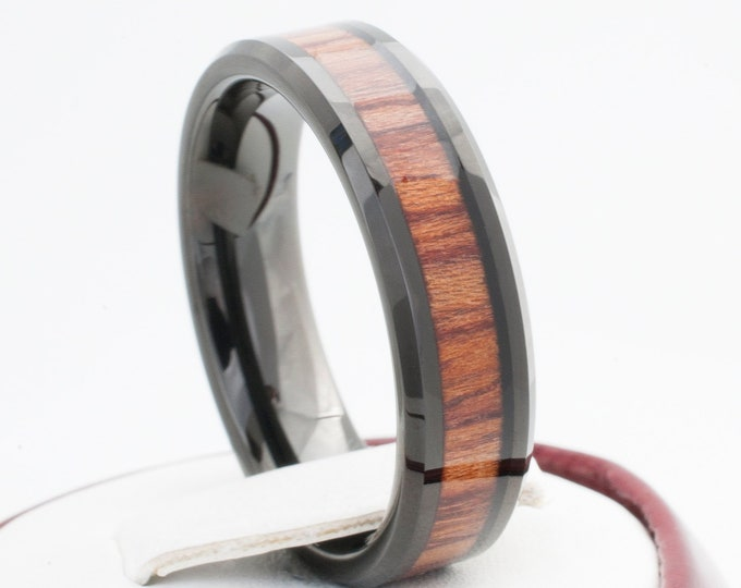 Black Tungsten Ring Wood Inlay Men Women Wedding Band Comfort Fit Polish Design 6MM Size 5 to 14 Great Anniversary Engagement Marriage Gift