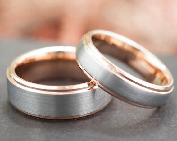 Rose Gold Tungsten Ring Men Women Wedding Band Grey Brushed Set Or Single Beveled His Hers 8MM 6MM Size 5 to 15 Anniversary Engagement Gift