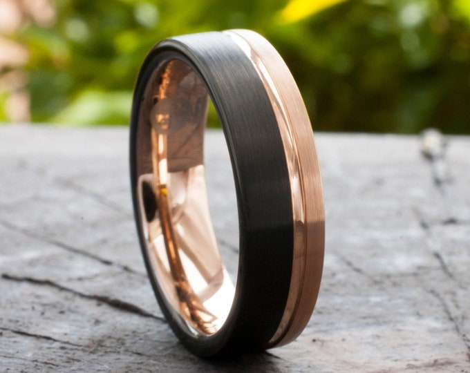 Rose Gold Tungsten Ring Black Men Women Two Tone Wedding Band Groove Inlay Brushed 6MM Sizes 5 to 14 His Hers Anniversary Engagement Gift
