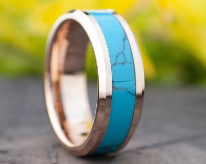 Rose Gold Turquoise Tungsten Ring Men Women Natural Wedding Band 8mm Comfort Fit Size 5-14 Husband Wife Blue Green Promise Engagement Ring
