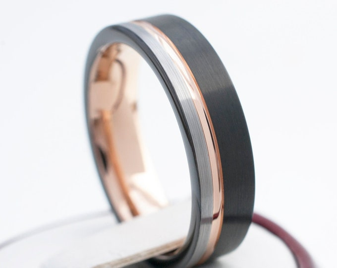 Rose Gold Tungsten Ring Black and Grey Wedding Band Women Men Comfort Fit 6MM Sizes 4 to 14 Promise Anniversary Engagement Gift Engrave Opt