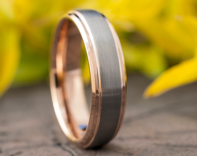 Rose Gold Tungsten Ring Men Women Wedding Band Beveled Edge Grey Brushed Design 6MM Size 5 6 7 8 9 10 11 12 13 14 Anniversary Love Gift