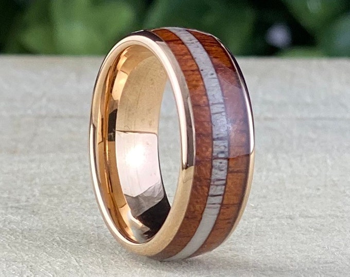 Wood Deer Antler Tungsten Wedding Band Rose Gold Men Ring 3-Inlay Domed Design 8MM Size 5 to 14 His Male Anniversary Engagement Gift Idea