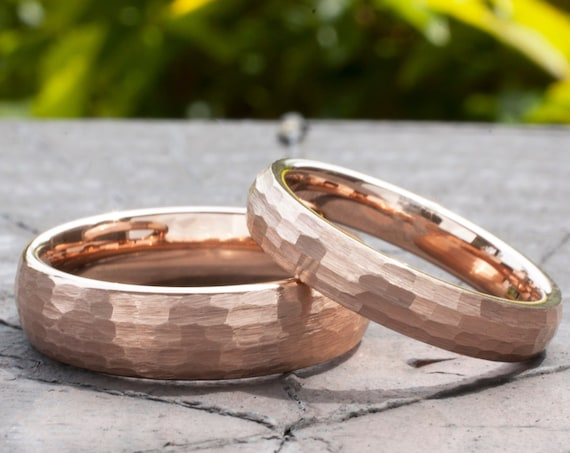 Hammered Tungsten Ring Rose Gold Men Women Wedding Band Brush 6MM 4MM Set Or Single Ring Size 4 to 14 Husband Wife Anniversary Duo Gift