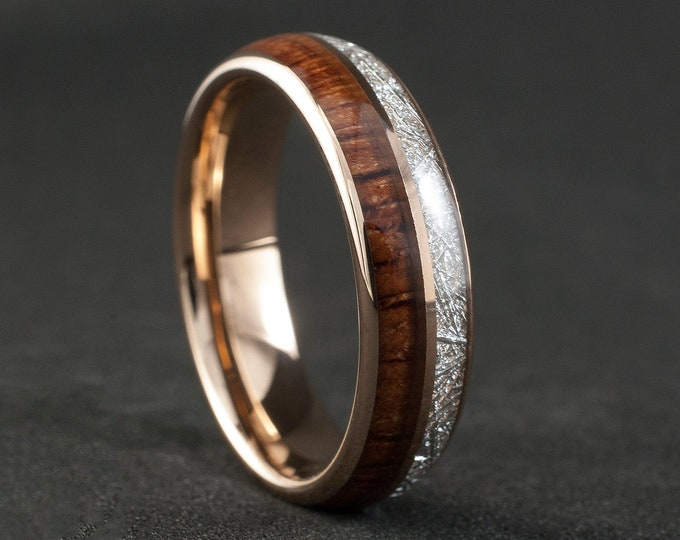 Wood Meteorite Rose Gold Tungsten Ring 6MM Male Female 2 Layer Wedding Band Size 5 to 14 Men Women Anniversary Elegant Engagement Love Gift