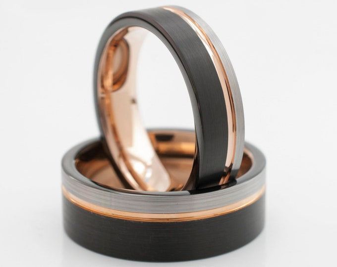 Rose Gold Tungsten Ring Black Grey Wedding Band Brushed Comfort Fit Men Women 8MM 6MM Size 4 to 15 Anniversary Set Or One Ring His Hers Gift