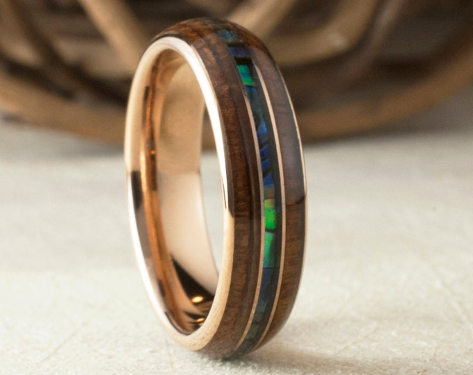 Wood Mother of Pearl Rose Gold 6MM Tungsten Ring Men Women Wedding Band Abalone 3-Layer Size 5 to 14 Anniversary Male Wife Special Gift Idea