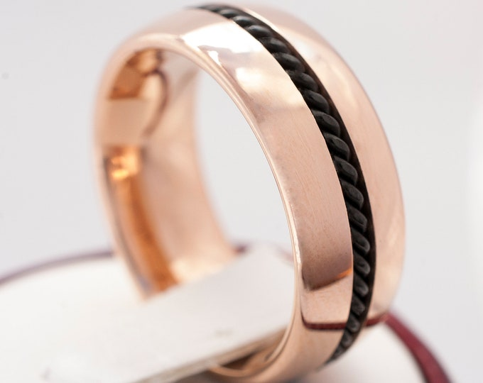 Rose Gold Tungsten Ring With Black Rope Inlay Polished Design Women Men Wedding Bridal Band 8MM  Size 6 to 14 His Her Symbol of Love Gift