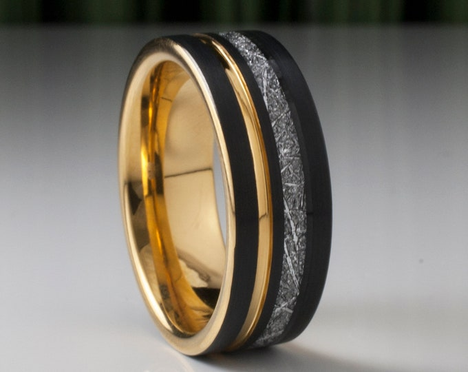 Gold Black Tungsten Ring Men Meteorite Inlay Wedding Band Yellow Groove 8MM Male Comfort Fit Size 5 to 15 Personal Anniversary Gift Idea