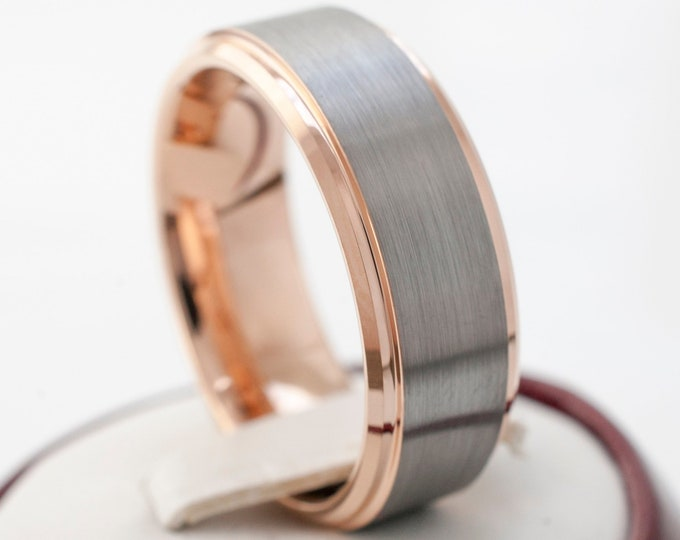 8MM Rose Gold Tungsten Ring Grey Men Wedding Band Beveled Edges Brush Design Size 5 to 15 Anniversary Love Promise Ring His Engagement Gift