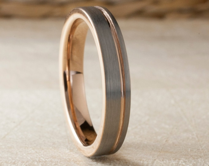 Rose Gold Tungsten Ring 4MM Thin Wedding Band Women Men Skinny Grey Silver Brushed Stylish Design Sizes 4 to 14 Anniversary Engagement Gift