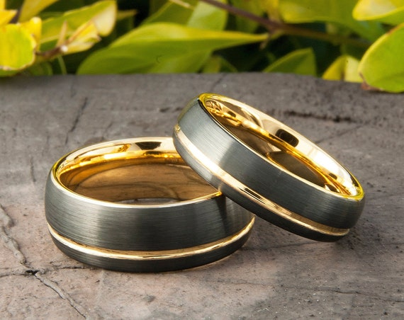 Gold Tungsten Ring Two-Tone Black And Yellow Wedding Band Matte Design Men Women 8MM 6MM Size 4 to 15 Anniversary Set Or Single Ring Gift