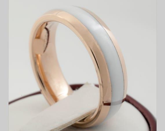 Rose Gold Tungsten Carbide Ring White Wedding Band Women Men High Polished Ceramic Design 6MM Size 4 to 14 His Her Elegant Anniversary Gift