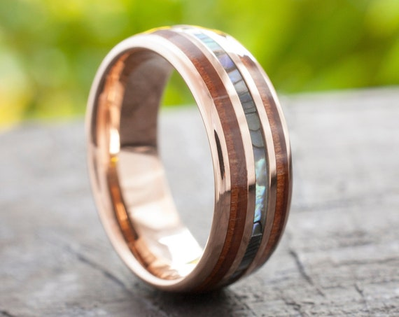 Tungsten Wood Ring Rose Gold Men Women Mother Of Pearl Wedding Band Abalone 8MM Size 4 to 15 Anniversary His or Her Elegant Special Gift
