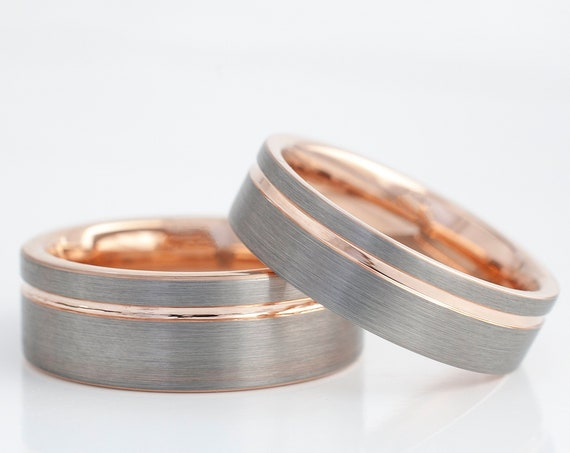 Rose Gold Tungsten Ring Men Women Set Or Single Wedding Band Grey Brushed Design His And Hers 8MM 6MM Size 4-15 Anniversary Engagement Gift