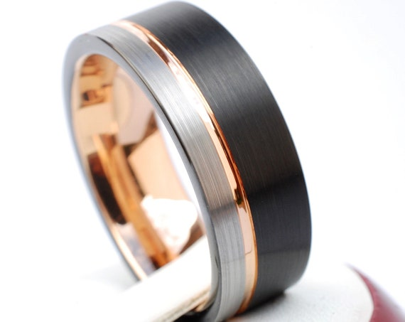 Men Rose Gold Tungsten Ring Black Grey Brushed Wedding Band 3-Tone 8MM Size 5 to 15 Promise Anniversary Engagement Gift Engraving Available