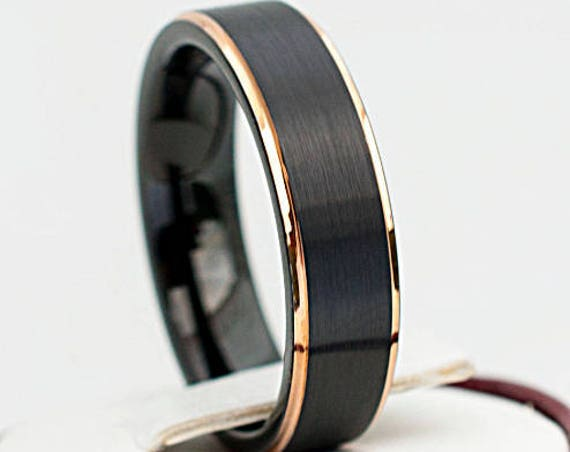 Black Tungsten Ring Classy Brushed Design With Rose Gold Thin Lines Wedding Bridal Band Men Woman 6MM Size 4 to 14 Fabulous His or Her Gift