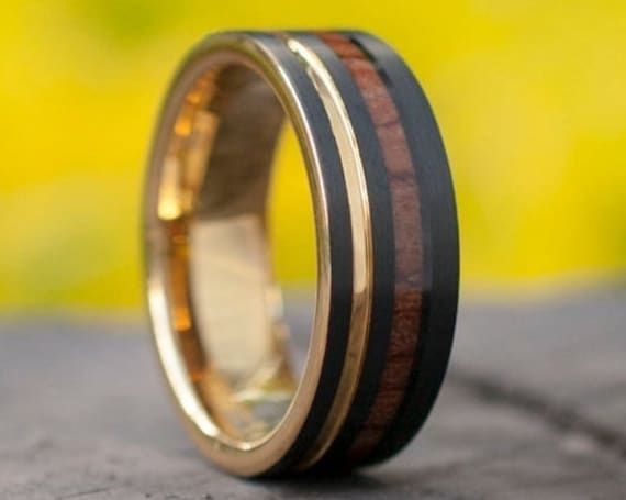 Black Tungsten Ring Gold Wedding Band Wood Inlay Yellow Groove Men 8MM Comfort Fit Design Size 5 to 15 His Perfect Anniversary Marriage Gift